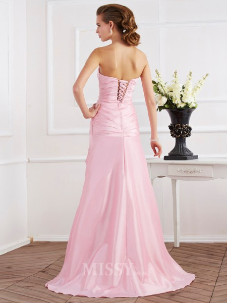 Mermaid Strapless Taffeta Sweep Train Evening Dress With Sequin