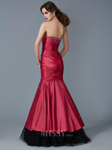Mermaid Strapless Floor-Length Taffeta Evening Dress With Pleats