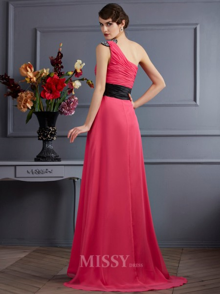 A-Line One-Shoulder Chiffon Sweep Train Evening Dress With Sash Pleats