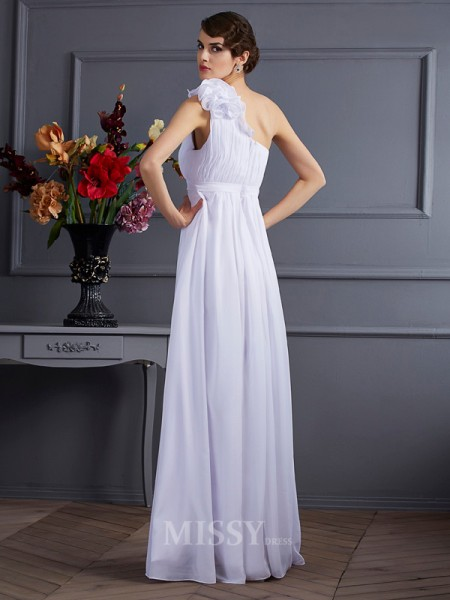 A-Line One-Shoulder Chiffon Floor-Length Evening Dress With Rhinestone Applique