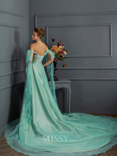 A-Line Off-the-Shoulder Chapel Train Taffeta Evening Dress With Ruched