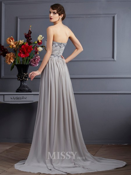 A-Line Sweetheart Sweep Train Chiffon Evening Dress With Embroidery Pleats