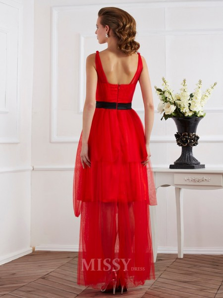 A-Line Straps Ankle-Length Elastic Woven Satin Evening Dress With Sash Pleats