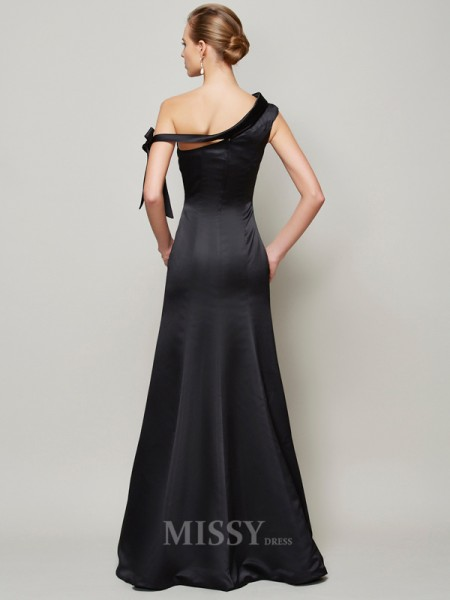 Mermaid One-Shoulder Floor-Length Satin Evening Dress With Bowknot