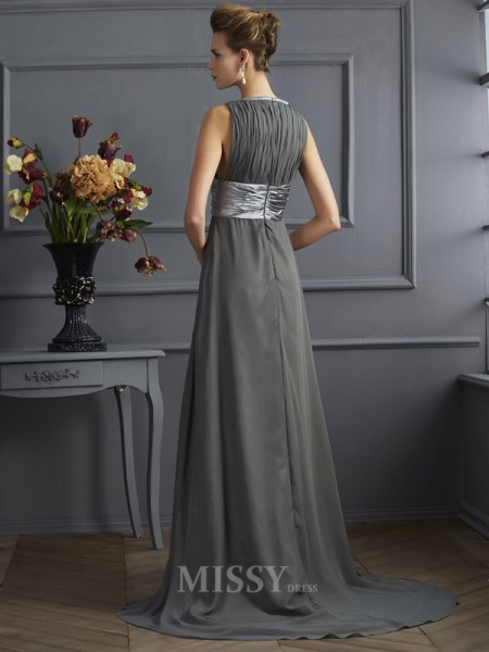 A-Line High Neck Sweep Train Chiffon Evening Dress With Pleats