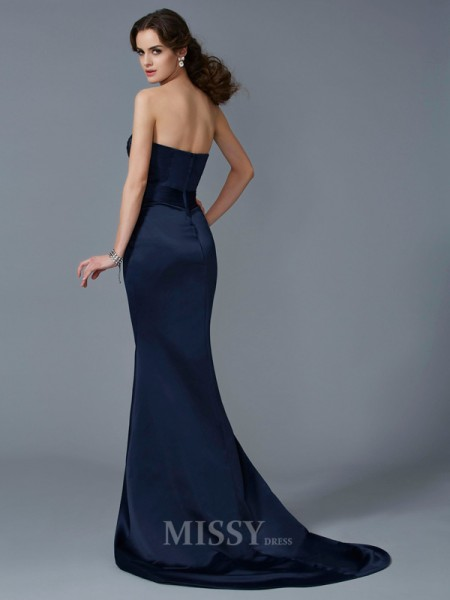 Mermaid Strapless Sweep Train Satin Evening Dress With Sequin