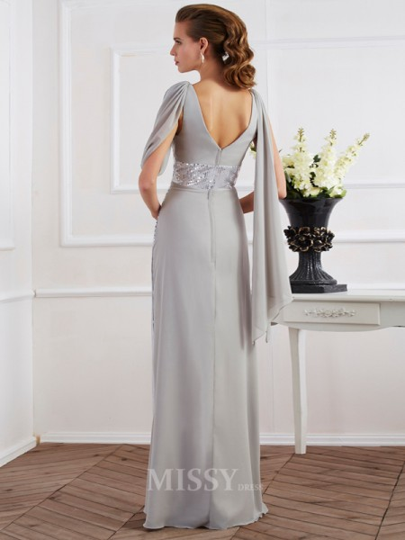 Sheath V-neck Short Sleeves Floor-Length Chiffon Evening Dress With Pleats