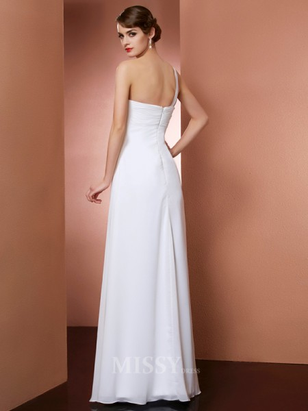 A-Line One-Shoulder Floor-Length Chiffon Evening Dress With Sash Bowknot