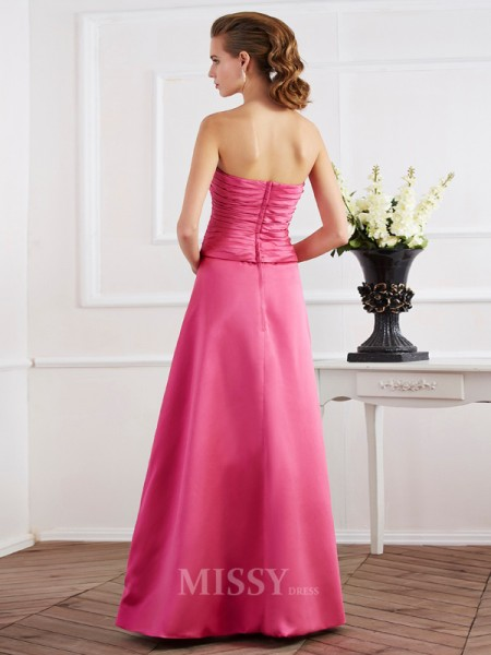 Sheath Strapless Satin Floor-Length Evening Dress With Beading Ruffles