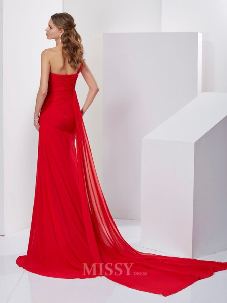 A-Line One-Shoulder Sweep Train Chiffon Evening Dress With Embroidery