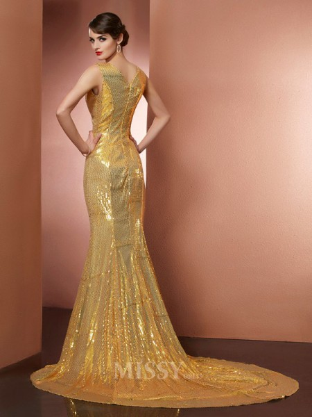 A-Line V-neck Chapel Train Satin Evening Dress With Beading