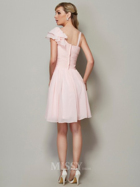 A-Line Straps Chiffon Mini Bridesmaid Evening Dress With Pleats