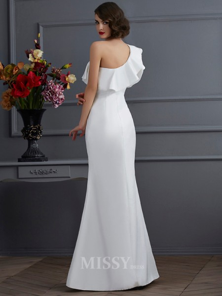 Mermaid One-Shoulder Taffeta Floor-Length Evening Dress With Sash Ruffles