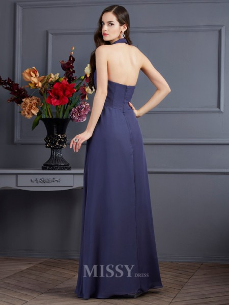 A-Line Halter Chiffon Floor-Length Evening Dress With Ruffles Pleats