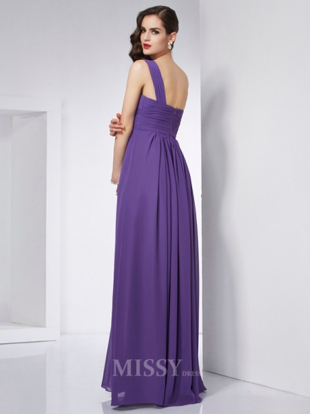 A-Line One-Shoulder Chiffon Floor-Length Evening Dress With Ruched