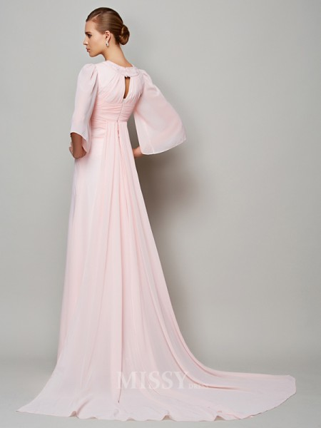 A-Line 1/2 Sleeves High Neck Sweep Train Chiffon Evening Dress With Embroidery
