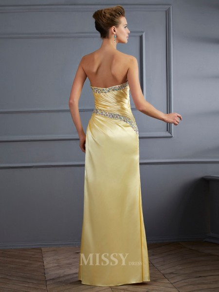 Mermaid Sweetheart Floor-Length Elastic Woven Satin Evening Dress With Ruched