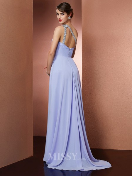 A-Line One-Shoulder Sweep Train Chiffon Evening Dress With Ruched