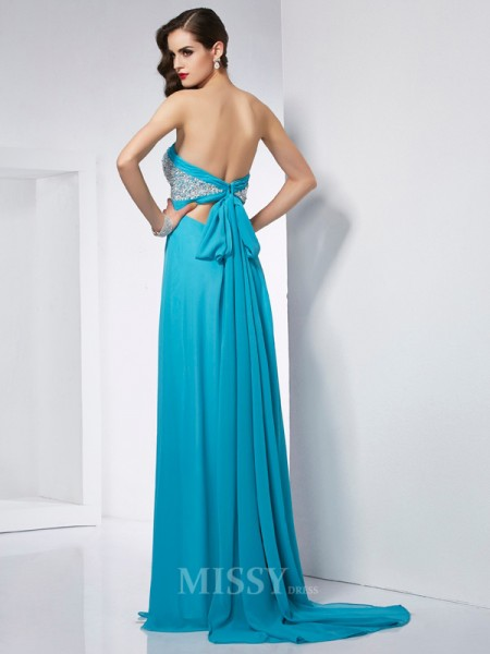 A-Line Sweetheart Chiffon Floor-Length Evening Dress With Beading
