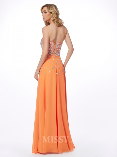 A-Line Sweetheart Floor-Length Chiffon Evening Dress With Applique