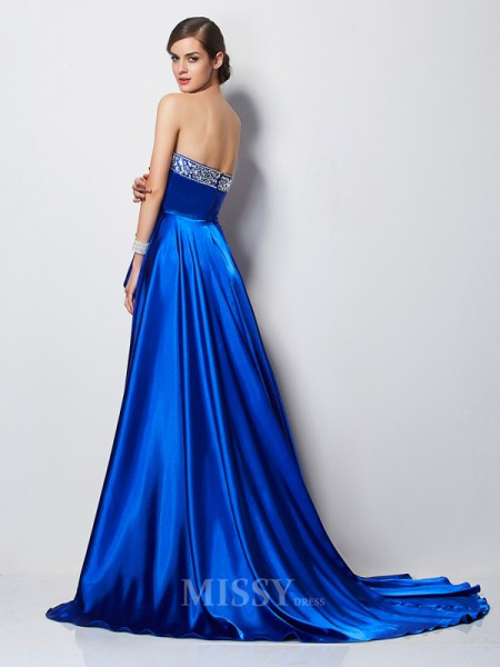 A-Line Sweetheart Elastic Woven Satin Evening Dress With Pleats