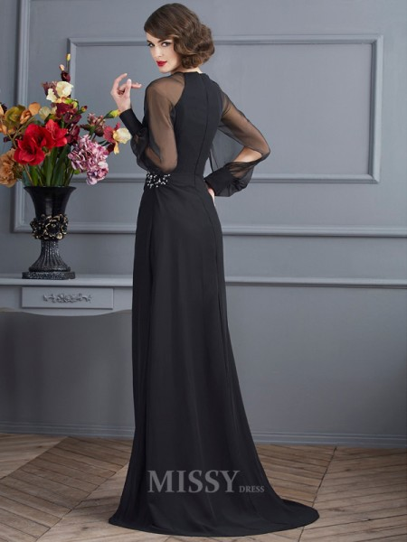 Sheath Scoop Long Sleeves Sweep Train Chiffon Evening Dress With Beading