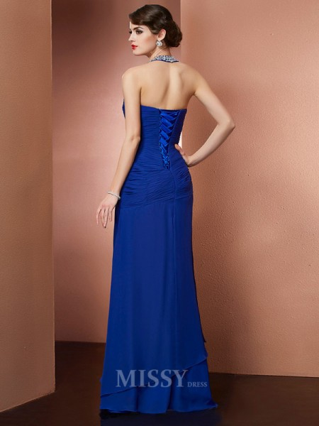 Sheath Halter Chiffon Floor-Length Evening Dress With Ruched