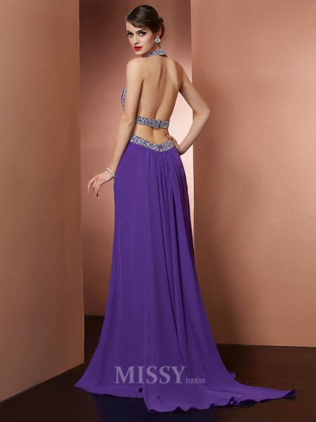 A-Line Halter Sweep Train Chiffon Evening Dress With Embroidery