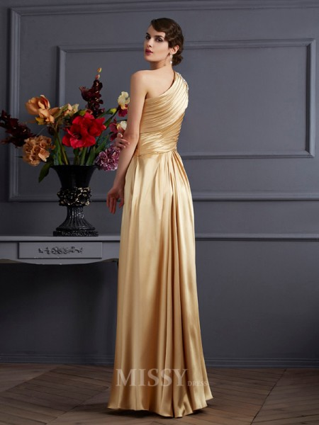 A-Line One-Shoulder Elastic Woven Satin Floor-Length Evening Dress With Ruffles