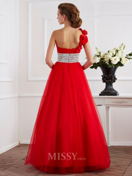 Ball Gown One-Shoulder Hand-Made Flower Net Floor-Length Evening Dress With Beading