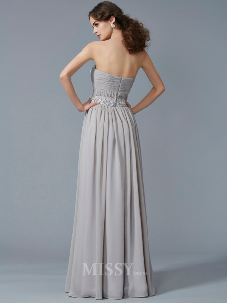 A-Line Sweetheart Floor-Length Chiffon Evening Dress With Lace