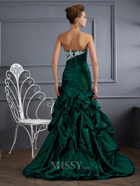 Ball Gown Strapless Sweep Train Taffeta Evening Dress With Sash Applique
