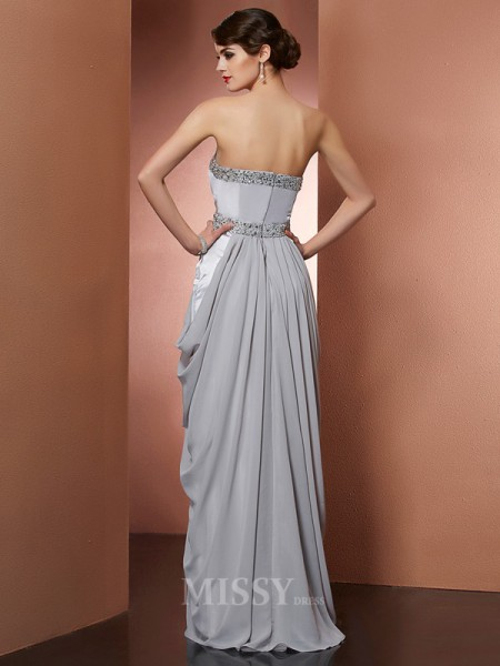 Sheath Strapless Floor-Length Chiffon Evening Dress With Ruffles