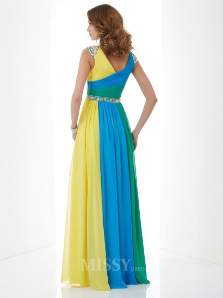 A-Line V-neck Short Sleeves Floor-Length Chiffon Evening Dress With Applique