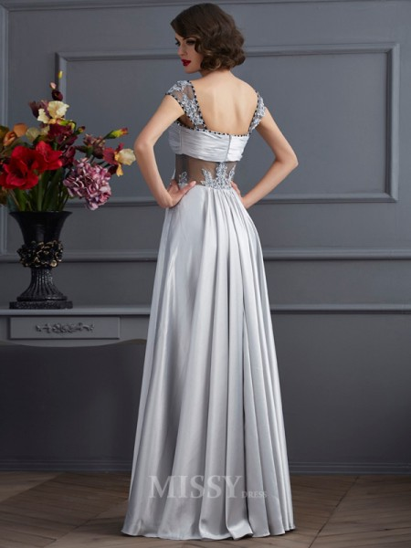 A-Line Off-the-Shoulder Elastic Woven Satin Evening Dress With Beading Pleats