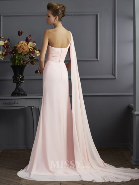 A-Line One-Shoulder Chiffon Sweep Train Evening Dress With Sequin
