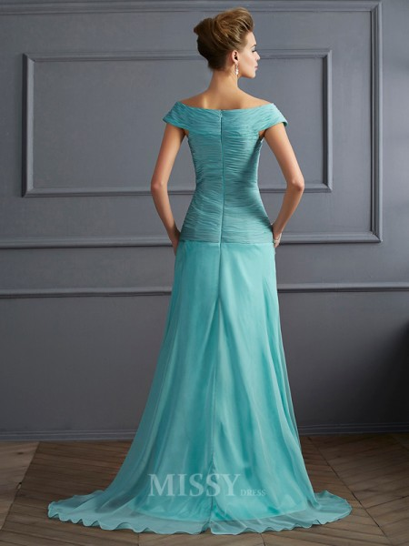 A-Line Off-the-Shoulder Sweep Train Chiffon Evening Dress With Beading