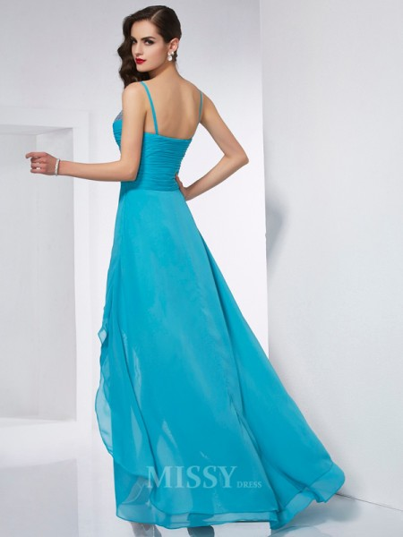 A-Line Spaghetti Straps Chiffon Asymmetrical Evening Dress With Beading