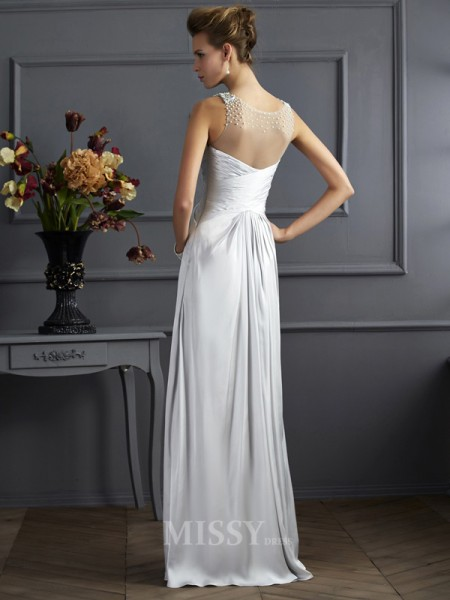 A-Line Straps Silk like Satin Floor-Length Evening Dress With Beading