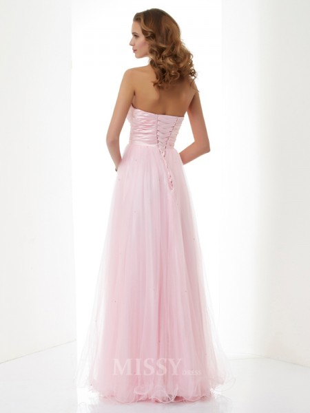A-Line Sweetheart Elastic Woven Satin Floor-Length Evening Dress With Beading