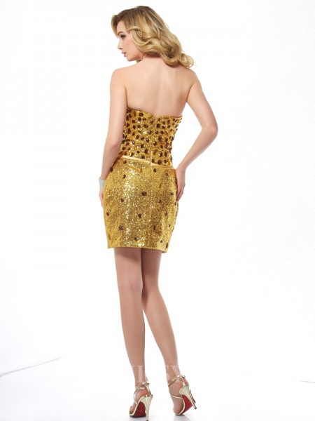 Sweetheart Sheath Sequins Mini Evening Dress With Beading
