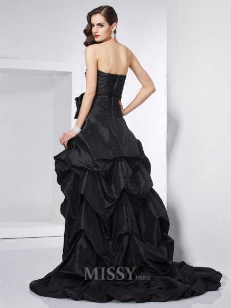 A-Line Strapless Taffeta Asymmetrical Evening Dress With Ruched
