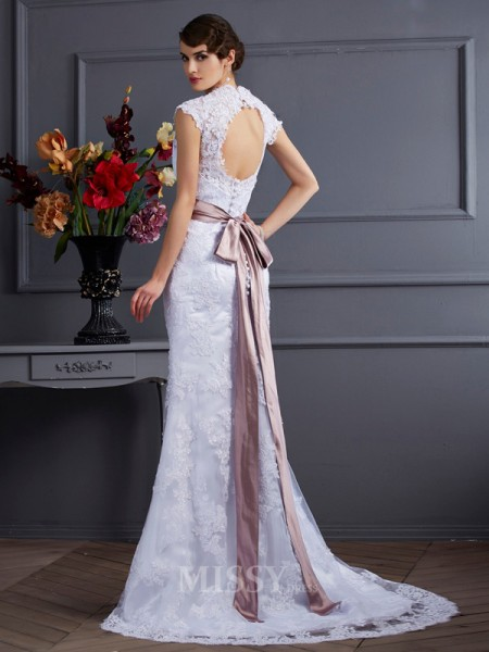 Mermaid Satin Applique Sweep Train Wedding Evening Dress With Pleats