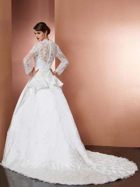 A-Line V-Neck Long Sleeves Applique Cathedral Train Satin Wedding Evening Dress With Sash