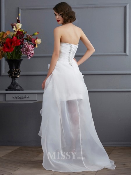 A-Line Sweetheart Applique Organza Asymmetrical Wedding Evening Dress With Beading