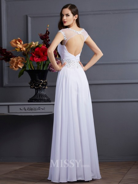 A-Line Chiffon Bateau Short Sleeves Floor-Length Evening Dress With Rhinestone