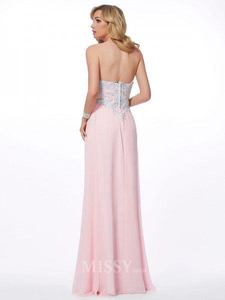 Sweetheart Sheath Chiffon Floor-Length Evening Dress With With Beading Applique