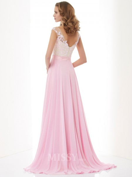A-Line Scoop Applique Chiffon Sweep Train Evening Dress With Beading