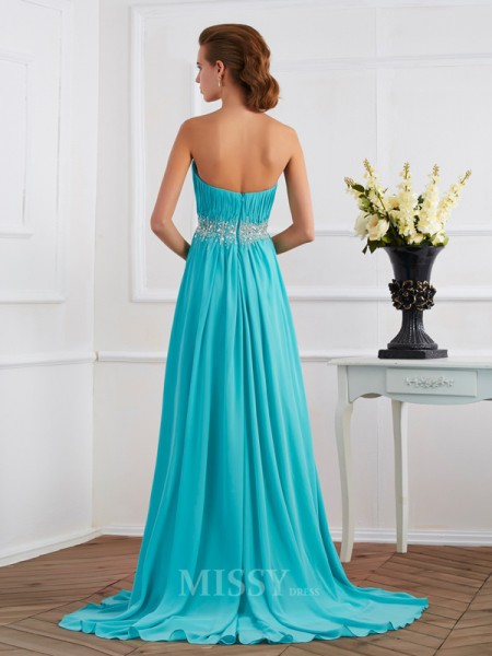 A-Line Sweetheart Sweep Train Evening Dress With Beading