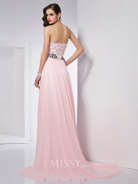 A-Line Strapless Chiffon Sweep Train Evening Dress With Ruched
